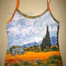 Van Gogh WHEAT FIELD with CYPRESSES Fine Art Print Shirt Singlet TANK TOP Misses L Large