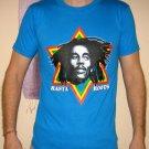 RASTA ROOTS Bob Marley REGGAE Irie Dub Rastafarian Judah T-Shirt XL Blue NWOT