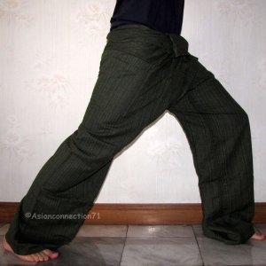 Thai EXTRA LONG Cotton Fisherman Pants Yoga Trousers Dark Green Stripe