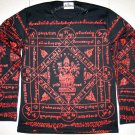 PRAPROM Thai Brahma God Long Sleeve Magic Tattoo Biker Punk T Shirt L Large Red on Black