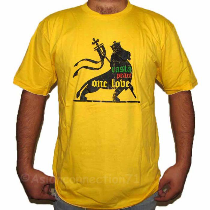 RASTA PEACE ONE LOVE LION of Judah Roots REGGAE T-Shirt M Medium Yellow