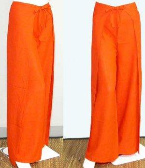 Thai FREESIZE Silky Rayon Wrap Yoga Pants ORANGE Dance Beach Party Trousers