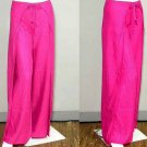 Thai FREESIZE Silky Rayon Wrap Yoga Pants MAGENTA PINK Dance Beach Party Trousers