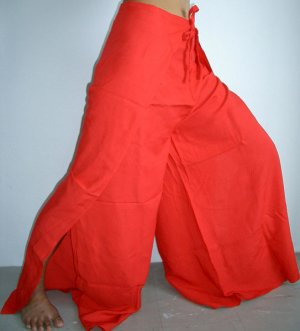 Thai FREESIZE Rayon Wrap Yoga Pants RICH RED Asian Dance Beach Party Trousers