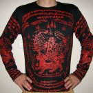 Thai HANUMAN SINGHA Long Sleeve Sak Yant Magic Tattoo T Shirt L Red on Black