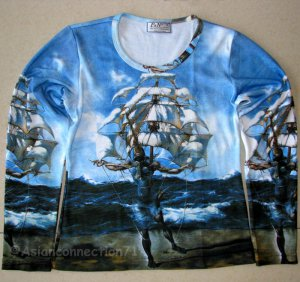 Salvador Dali THE SHIP Fine Art Print LONG SLEEVE T Shirt Misses Size L Large