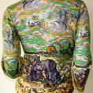 VAN GOGH Long Sleeve TWO PEASANT WOMEN IN FIELD WITH SNOW Art Print T Shirt Misses Size XL