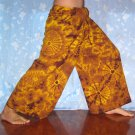 PLUS SIZE Thai Cotton Fisherman Yoga Pants YELLOW BROWN Tie Dye Beach Dance Martial Arts