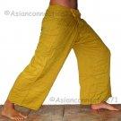 Thai Fisherman Pants Yoga Beach Dance Trousers Freesize Rayon Amber Saffron