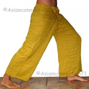 Thai Fisherman Pants Yoga Beach Dance Trousers Freesize Rayon Amber Saffron