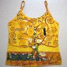 TREE of LIFE Gustav Klimt Hand Print Art Shirt Singlet TANK TOP Misses S Small