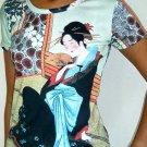 MERRY GEISHA Japanese Ukiyoe Japan Art Print T Shirt Miss M Medium Short Sleeve