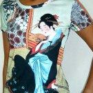 MERRY GEISHA Japanese Ukiyoe Japan Art Print T Shirt Miss M Medium Short Sleeve