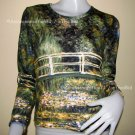 Monet WATER LILY POND Hand Print Long Sleeve Art T shirt Misses S Small