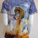 Monet WOMAN with PARASOL Art Print Cap Sleeve T-shirt Misses XL Extra Large