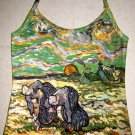 VAN GOGH Art Print Shirt Singlet TANK TOP Misses L Large PEASANT WOMEN DIGGING IN FIELD WITH SNOW