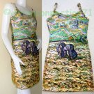 VAN GOGH Art Print Dress Misses L Large Size 12-14 PEASANT WOMEN DIGGING IN FIELD WITH SNOW
