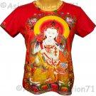 GUANIM Buddhist Goddess of Mercy Cap Sleeve Hindu Art Print T Shirt Misses L Large