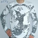 Thai RAMASOON THUNDER GOD Long Sleeve Tattoo T Shirt XL Black on White