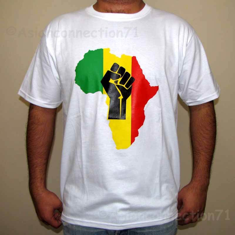AFRICA POWER Roots Rasta REGGAE T-Shirt L Large White