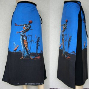 BURNING GIRAFFE Salvador Dali Fine Art Print Freesize Long Cotton Wrap Skirt
