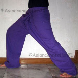 Thai EXTRA LONG Cotton Fisherman Pants SOLID PURPLE Yoga Beach Dance Trousers