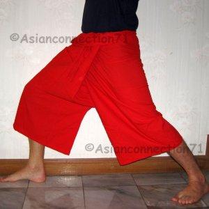 Thai PLUS SIZE Fisherman Capri SHORT Pants Yoga Trousers RED Cotton XXXL 3XL