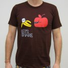 LET'S SHARE Apple Banana Retro Japanese T-shirt Slim Fit Asian M Medium Brown