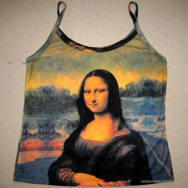 MONA LISA Leonardo Da Vinci Fine Art Print Shirt Singlet TANK TOP Misses M Medium