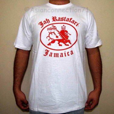 JAH RASTAFARI JAMAICA Roots Reggae Irie Dub Lion T-Shirt S Small White