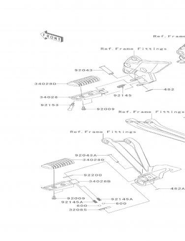 Kawasaki 34028-0315 Step RR RH Right Rear Footpeg Ninja 650 Z1000 2012-2013