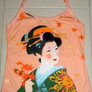 Autumn Geisha Hand Print Japan Ukiyoe Art Shirt Singlet TANK TOP Misses S Small