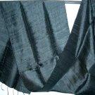 Thai Silk Fabric Scarf Elegant BLACK Thailand Siam Textile Shawl