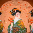 Japanese AUTUMN GEISHA Ukiyoe Art Print LONG SLEEVE T Shirt Misses M Medium