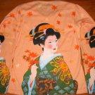Japanese AUTUMN GEISHA Ukiyoe Art Print LONG SLEEVE T Shirt Misses S SMALL