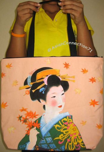 AUTUMN GEISHA Japan Art Print Bag Sling Purse Messenger Tote L Large
