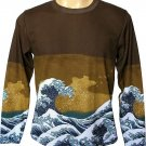 GIANT WAVE Hokusai UKIYOE Japan LONG Sleeve Japanese Art Print T Shirt Men's Size L Large