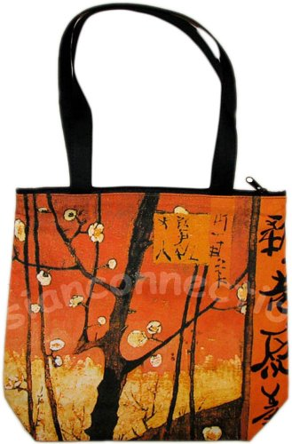 Van Gogh PLUM TREES Hand Print Fine Art Bag Purse Messenger Tote S Small
