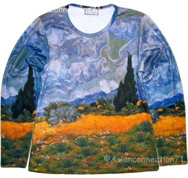 VAN GOGH Long Sleeve T Shirt WHEAT FIELD WITH CYPRESSES Misses XL EXTRA LARGE
