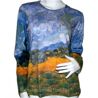 VAN GOGH Long Sleeve T Shirt WHEAT FIELD WITH CYPRESSES Misses S Small