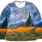 VAN GOGH Long Sleeve T Shirt WHEAT FIELD WITH CYPRESSES Misses L LARGE