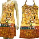TREE of LIFE Gustav Klimt Hand Print Fine Art Dress Misses Size M 8-10