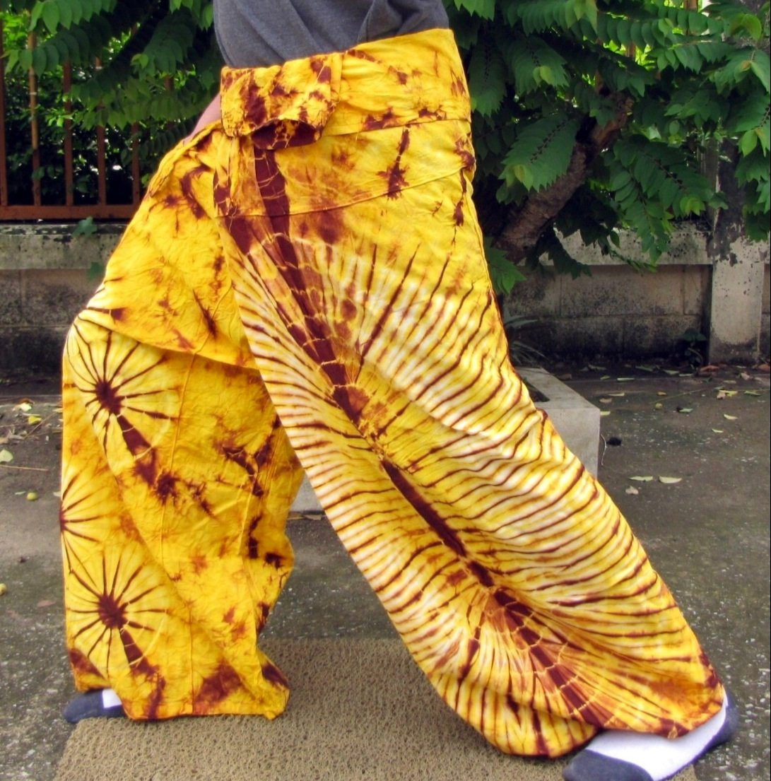 PLUS SIZE Thai Cotton Fisherman Pants Yoga Trousers YELLOW BROWN Tie Dye Beach Dance Martial Arts
