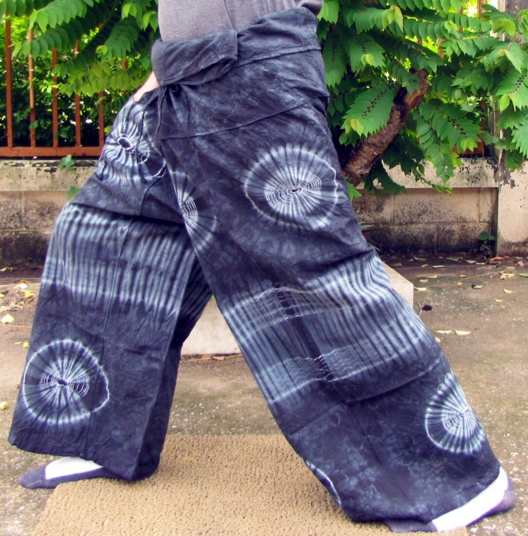 PLUS SIZE Thai Cotton Fisherman Pants Yoga Trousers CHARCOAL GRAY BLACK Tie Dye