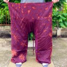PLUS SIZE Thai Cotton Fisherman Pants Trousers MANGOSTEEN MAROON Tie Dye Beach Dance Martial Arts