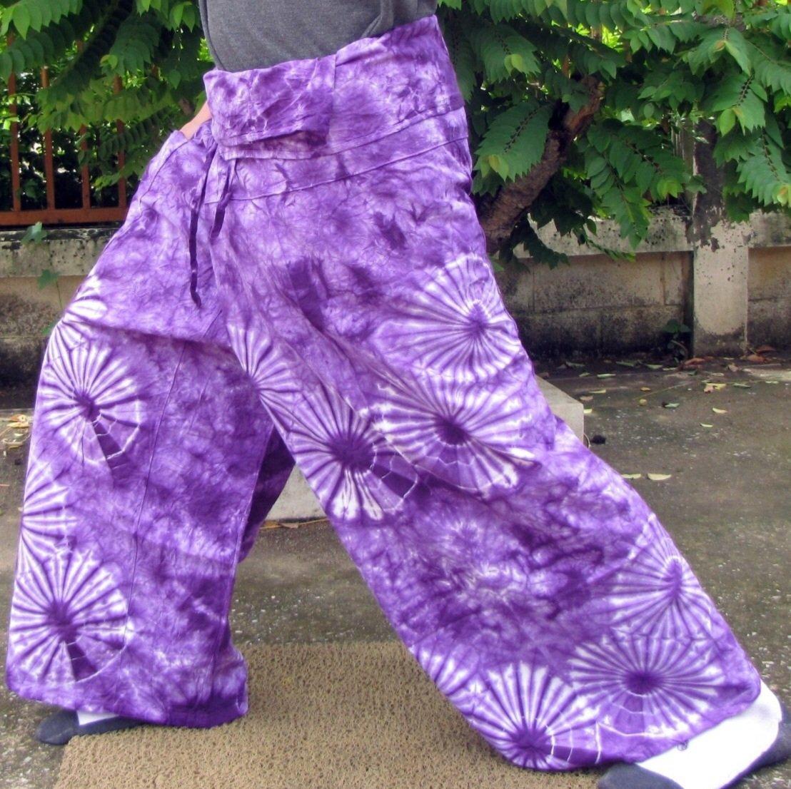 PLUS SIZE Thai Cotton Fisherman Pants Yoga Dance Trousers Purple Tie Dye