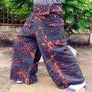 PLUS SIZE Thai Cotton Fisherman Pants Yoga Trousers Blue-Green Tie Dye XXXL