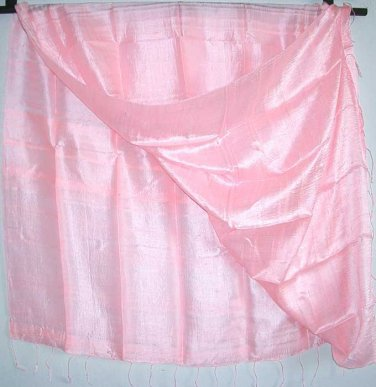 Thai Silk Fabric Scarf Shawl Wrap Hand Craft Large BABY PINK Textile