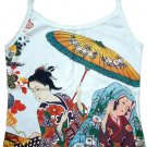 Parasol Geisha Hand Print Japan Ukiyoe Art Shirt Singlet TANK TOP Misses M Medium