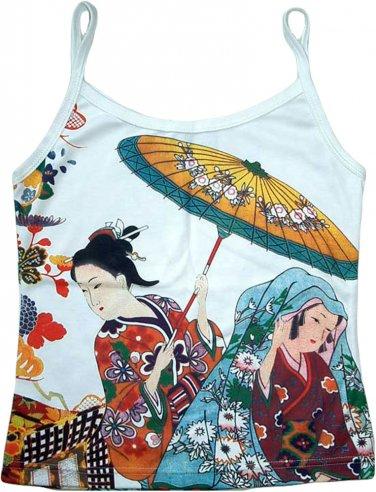 Parasol Geisha Hand Print Japan Ukiyoe Art Shirt Singlet TANK TOP Misses M Medium